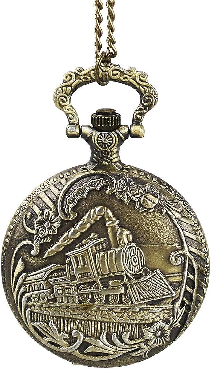 Reloj de Bolsillo Reloj de Bolsillo clásico de Cuarzo Reloj de Bolsillo clásico con Cadena Corta para Hombres Mujeres - Regalo para cumpleaños Día de Aniversario Navidad Día de Padres Día-Intbase