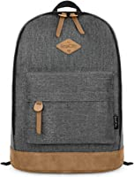EcoCityVintage Leather Canvas Laptop Backpack Rucksack Casual Book Bags (Navy)