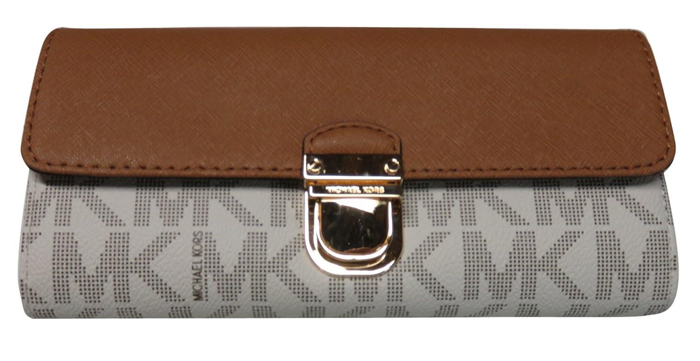 23dc26b5ae0243 Amazon.com: Michael Kors Bridgette Saffiano Flap Leather Wallet Black