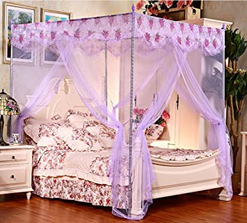 Violet 4 Corners Chiffon Princess Bed Canopy (Full/queen) & Violet 4 Corners Chiffon Princess Bed Canopy (Full/queen): Amazon ...