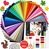 Caydo 42 Pieces StiffFelt Fabric Sheets with Embroidery SewingKit, Adhesive Wiggle Eyes forKids DIY Craftsand Decorative Projects (8 inch x 11.8 inch)