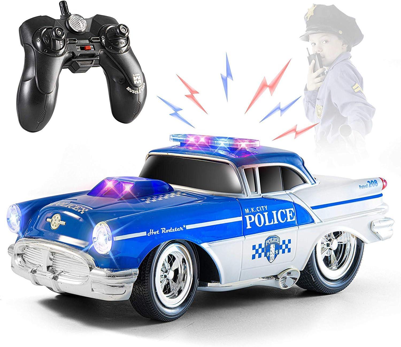 Top Race Remote Control Police Car Toy, RC Car para niños, regalo para niños de 2 a 9 años   Luces y sonidos   Neumáticos de goma, regalo resistente del juguete del coche de policía de RC