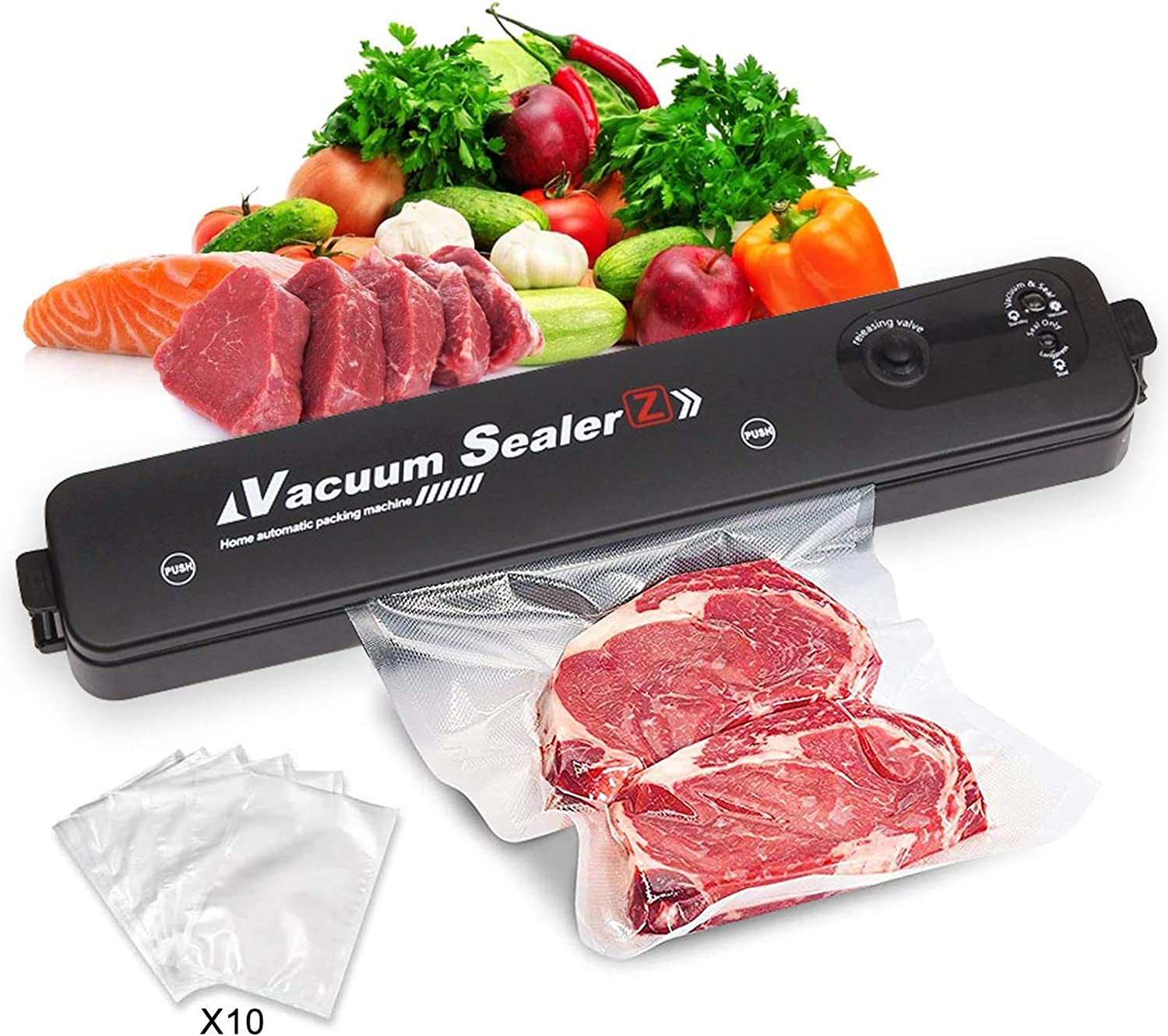 Vacuum Sealer 60kqa Food Savers Machine Automatic Packing for Food Preservation with 10 Bags Portable Mychonly