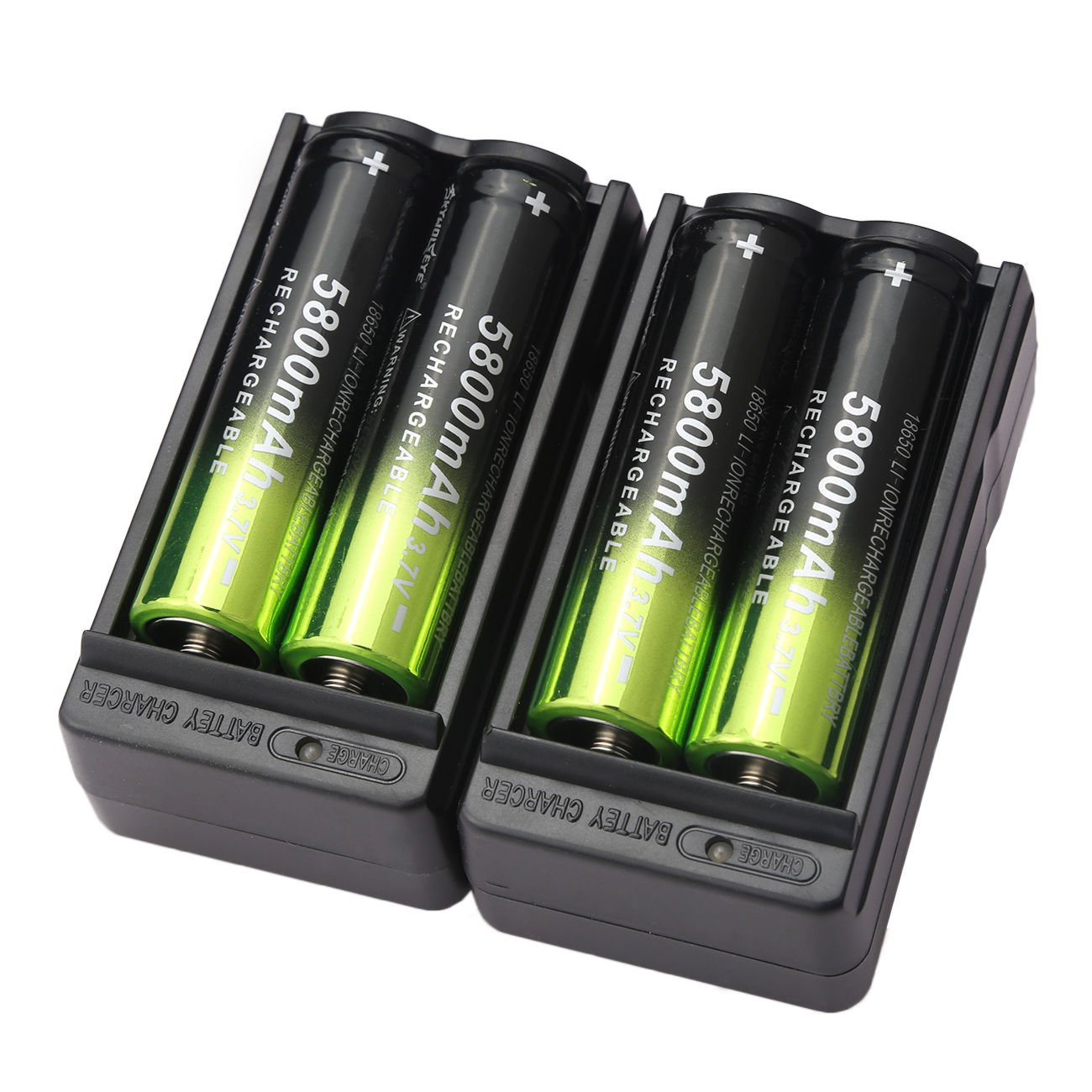4 X 5800mAh 18650 Battery 3.7V Li-ion Rechargeable+ 2X Dual Charger for Flashlight Headlamp by Skywolfeye