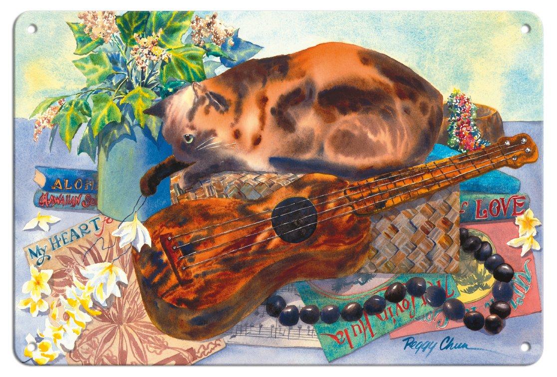 Pacifica Island Art Mele Hooipoipo (canción de Amor) - Gato Hawaiano (Popoki), Ukelele - de un Original Hawaii Acuarela Pintura por Peggy Chun - Fine Art ...