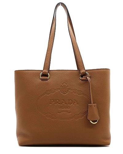 22347c8f55d428 Amazon.com: Prada Women's Brown Vitello Daino Leather Shopping Tote 1BG100:  Shoes