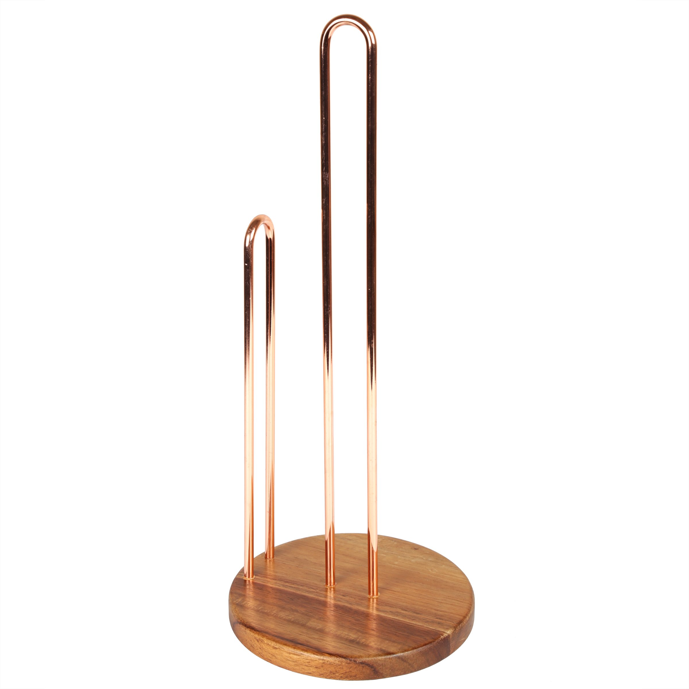 Creative Home Deluxe Acacia Wood & Wire Paper Towel Holder, Copper