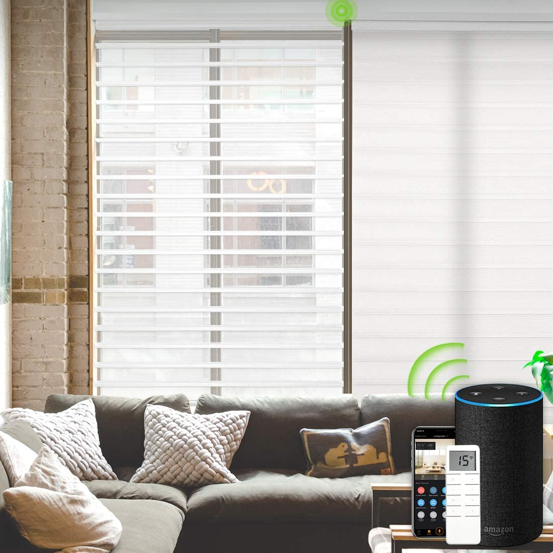 Yoolax Motorized Window Blinds Shangri-la Sheer Shades Light Filtering Remote Control Wireless Rechargeable Capable with Alexa Google Smart Home and Siri Customized White