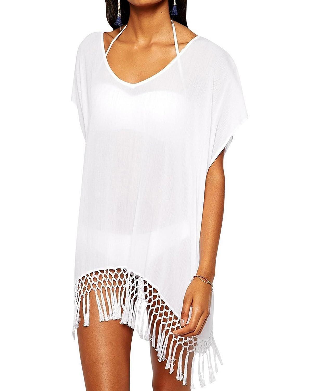 Damen Sommer Fledermausärmel Strandkleid Bikini Cover Up Badebekleidung  Tassel Hohl Strick Crochet Blusen Oberteile Weiß (EU34-40, Weiß):  Amazon.de: ...