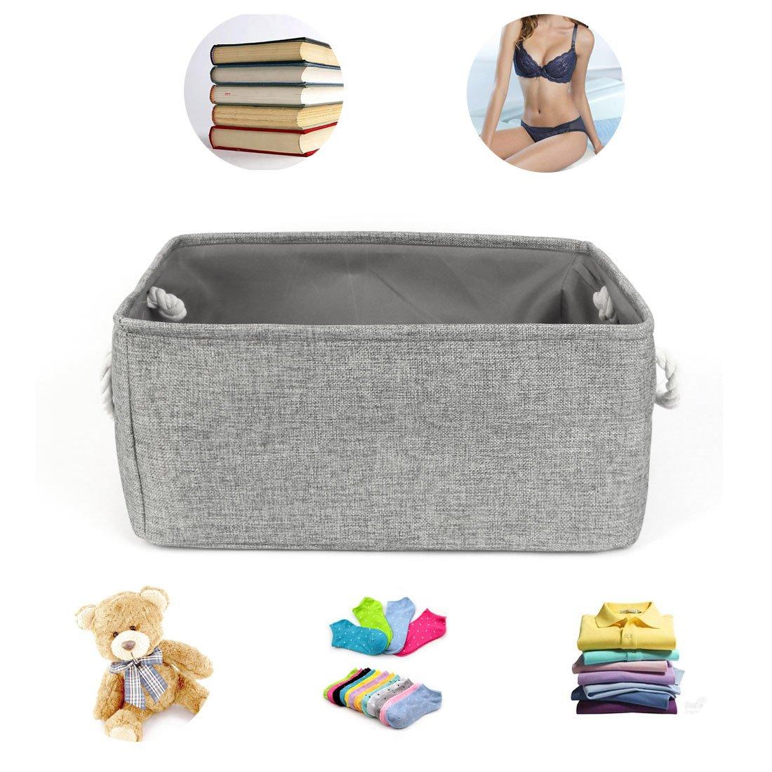 Cesta de tela plegable Sourcingmap®. Organizador con doble asas para guardar juguetes, ropa, toallas, gris, medium: Amazon.es: Hogar