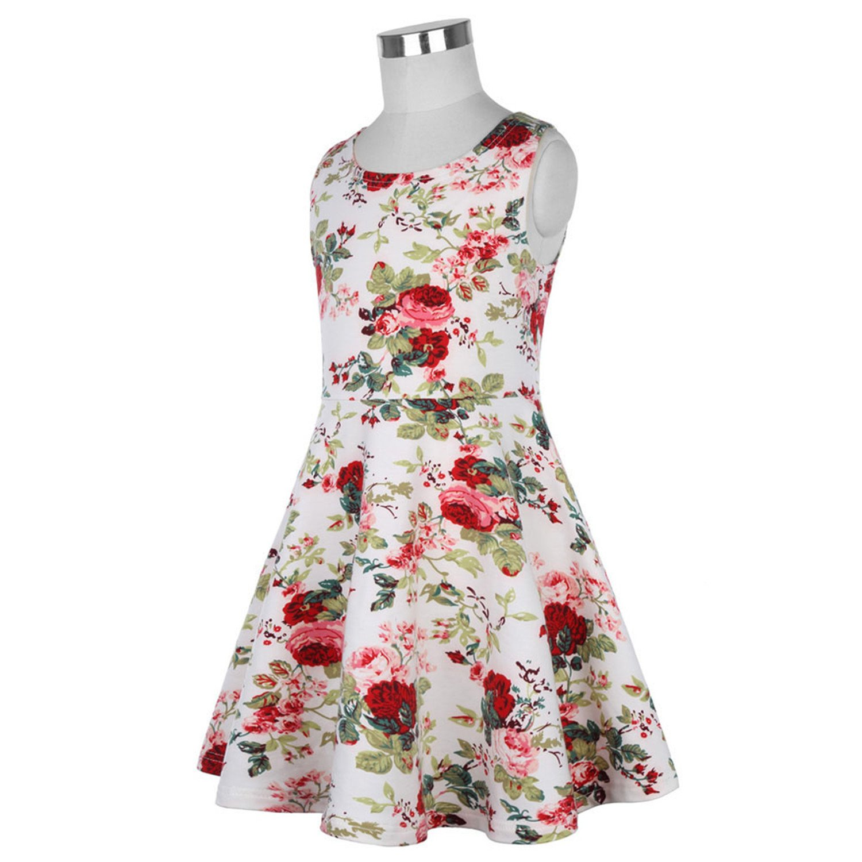 da8759c91eb Amazon.com  ylovego Flower Girl Dresses for Weddings Party First Floral  Print Vintage Graduation Dresses Kids Children Clothes  Clothing
