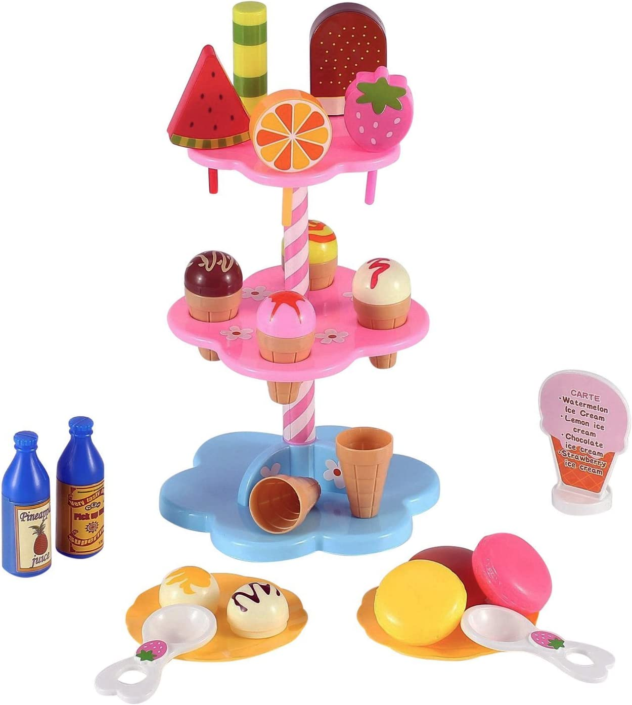 Liberty Imports Sweet Treats Ice Cream and Desserts Tower Stand - Pretend Play Food Toy Set for Kids (22 Pcs)