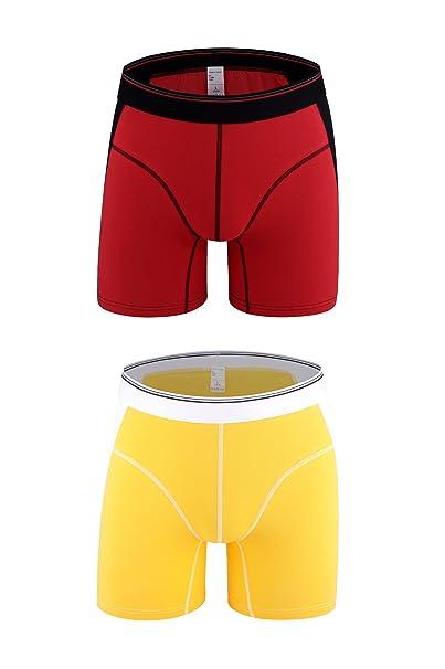 Nuofengkudu Hombre Adolescente 2 Pack Bóxers Ajustados Cortos Bulge Ropa Interior Elástico Compresión Deporte Sportswear Unter