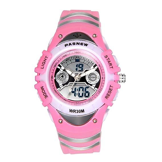 JewelryWe Relojes para Niños Niñas Analógico Digital Reloj Deportivo Para Aire Libre, Reloj Infantil Rosa, 3ATM A Prueba de Agua Buen Regalo 2017: ...