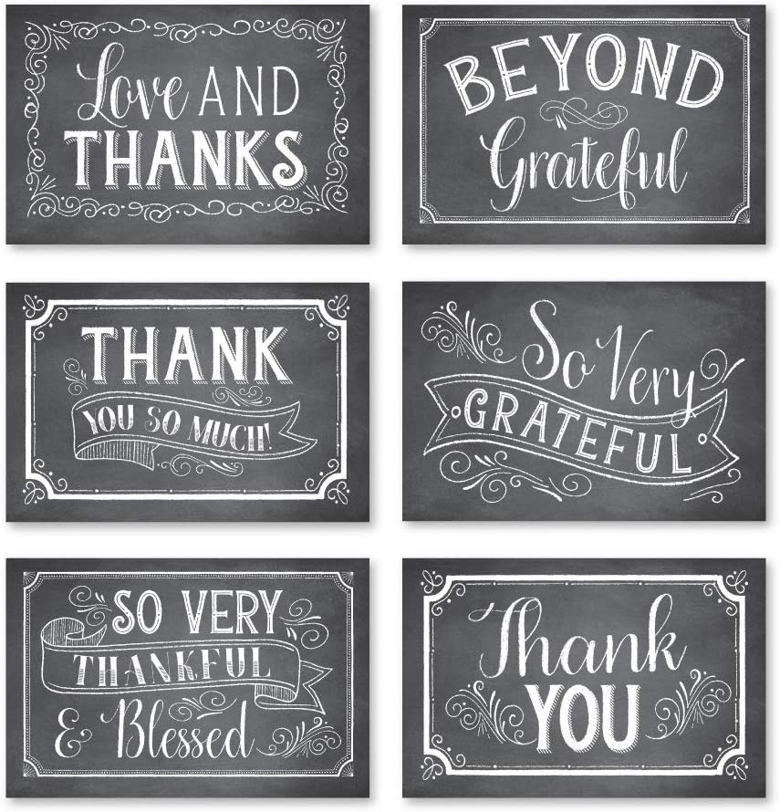 24 Chalkboard Thank You Cards With Envelopes, Great Note For Adult Funeral Sympathy or Gift Gratitude Stationery Supplies For Grad, Birthday, Baby or Rustic Bridal Wedding Shower For Boy or Girl