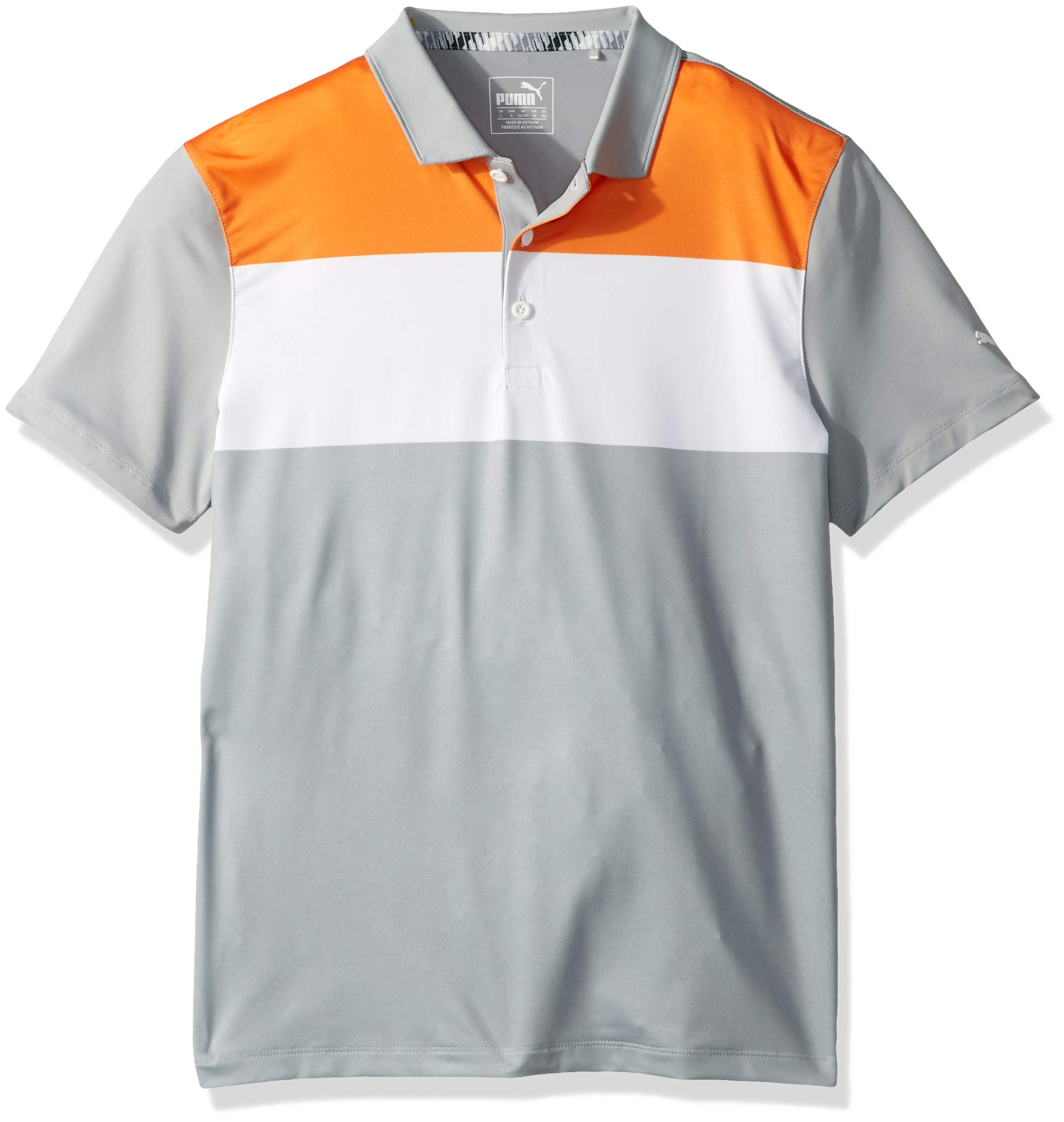Puma Golf Boys 2019 Nineties Polo, Vibrant Orange-Quarry, x Large by PUMA