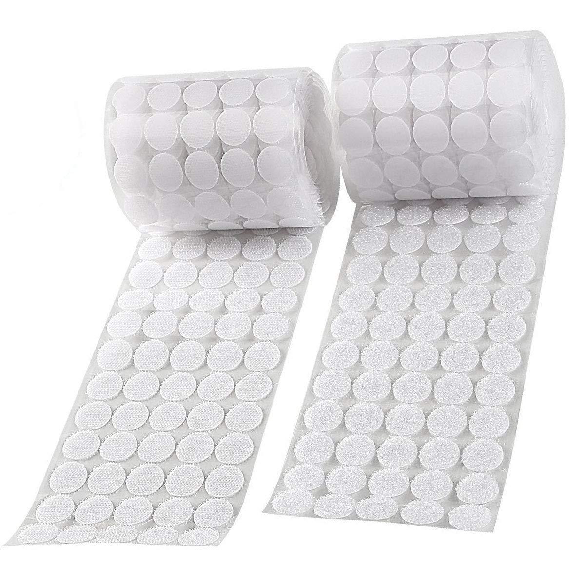 Tesan 1000 Stück Punkte Klettpunkte, Klettband Self Adhesive Klebend Klettverschluss Rund,500 Paar,20 mm,Weiß Weiß