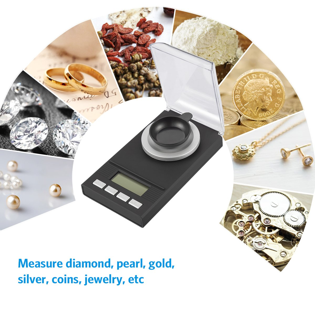 AMIR Digital Milligram Scale, Mini Precise Jewelry Scale, 50g/ 0.001g Pro Lab Scale with Calibration Weights Tweezers and Weighing Pans, 6 Units, Tare & PCS Function, Auto Off, for Gems, Diamond, etc by AMIR (Image #7)