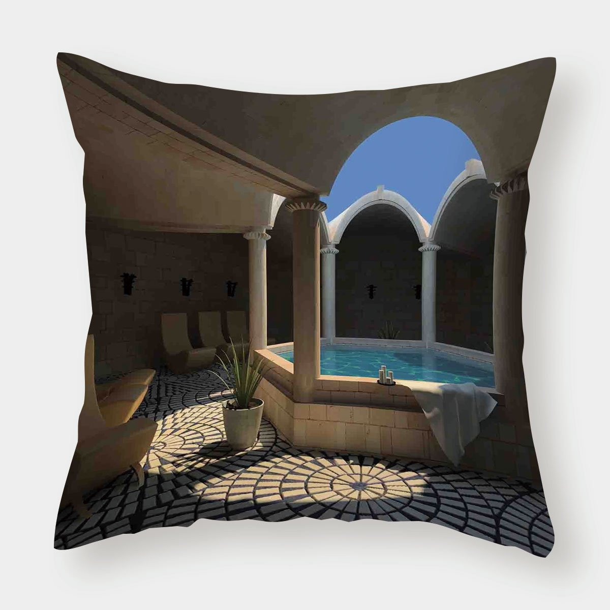 Microfiber Throw Pillow Cushion Cover,Landscape,Inside View of A Spa Hotel with Bathtub in the Circle Centre Therapy Photo Print Decorative,Grey Blue,Decorative Square Accent Pillow Case by iPrint (Image #1)