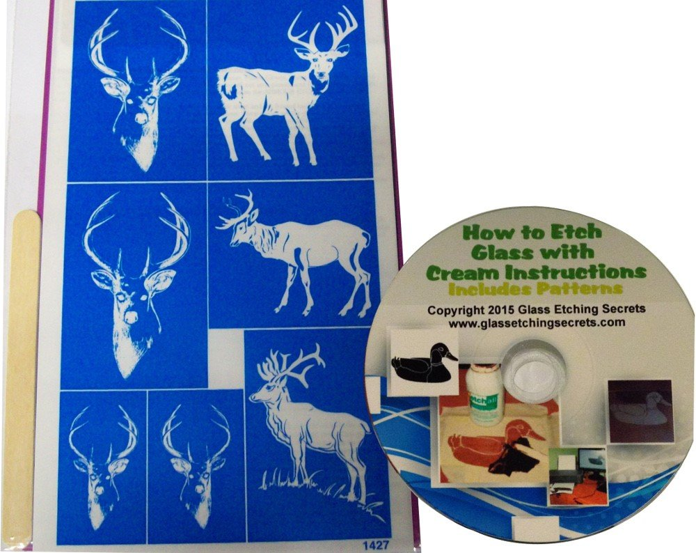 How To Etch Glass Amazoncom Deer Buck Animal Glass Etching Stencils Self Stick