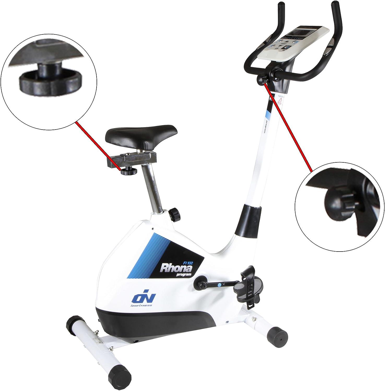 Bicicleta estática Rhona FI102 by ION fitness. 22 programas de entrenamiento. Volante inercia 7Kg. Blanca. Compacta. Ruedas de transporte: Amazon.es: Deportes y aire libre
