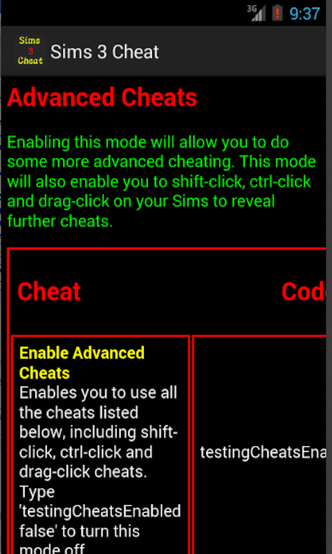 Codes sims 3 cheat Sims 3