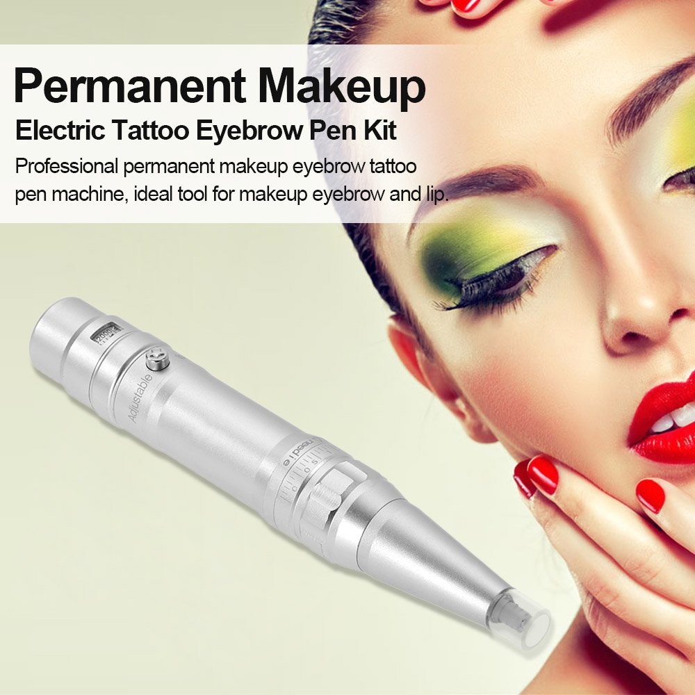 Anself Permanent Makeup Tattoo Pen Machine Electric Rotary Diagram Clipper Parts Embroidered Eyebrow Lip Eyeline Set With Aluminum Box Beauty