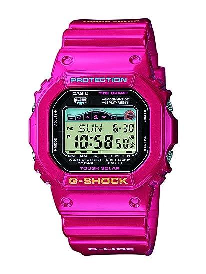 Casio G-SHOCK - Reloj digital de caballero de cuarzo con correa de resina rosa (alarma, cronómetro, luz, solar) - sumergible a 200 metros: Amazon.es: ...