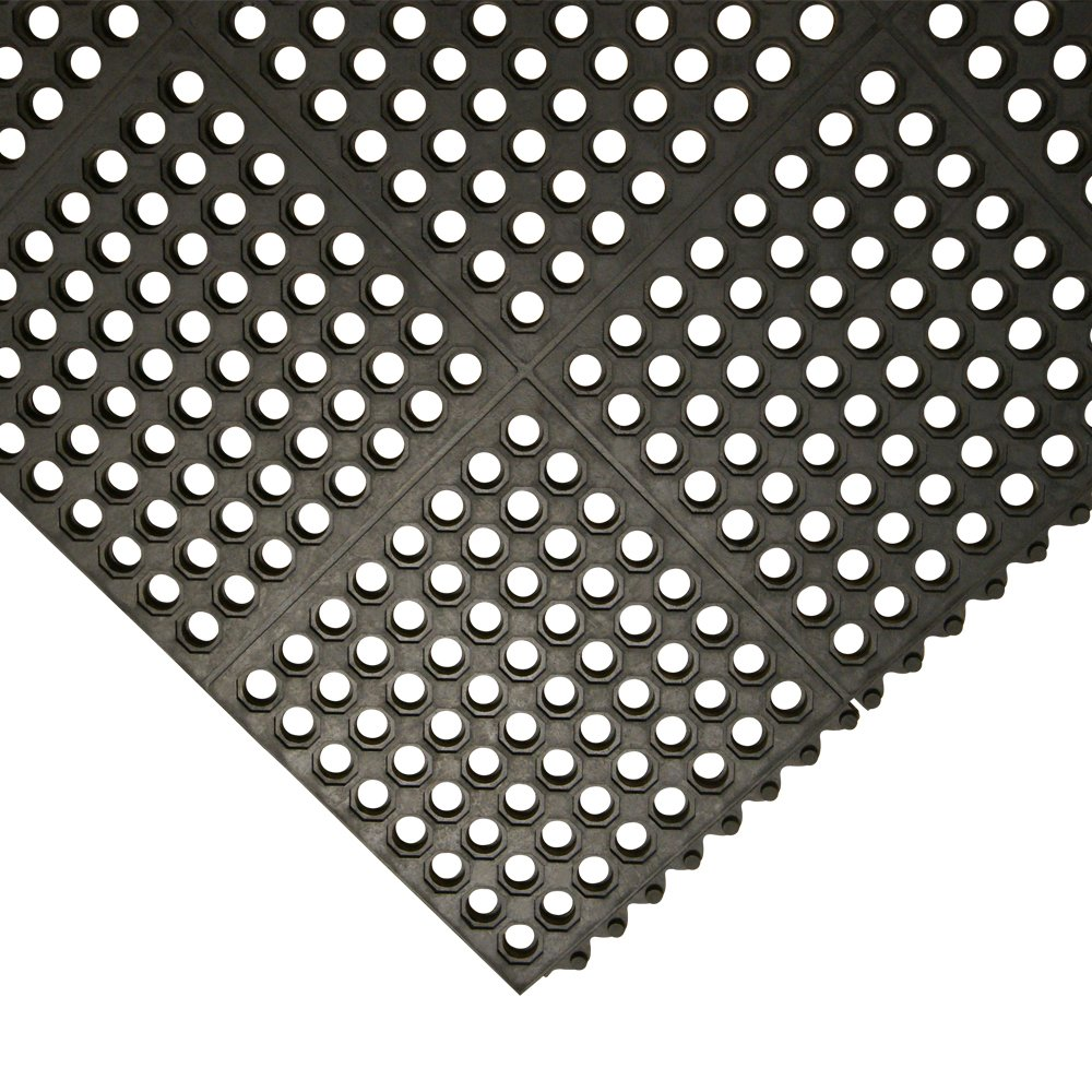 Rubber-Cal ''Dura-Chef Interlock'' Kitchen Mats - 5/8-inch x 3ft x 3ft - Black Rubber Matting - 4 Pack