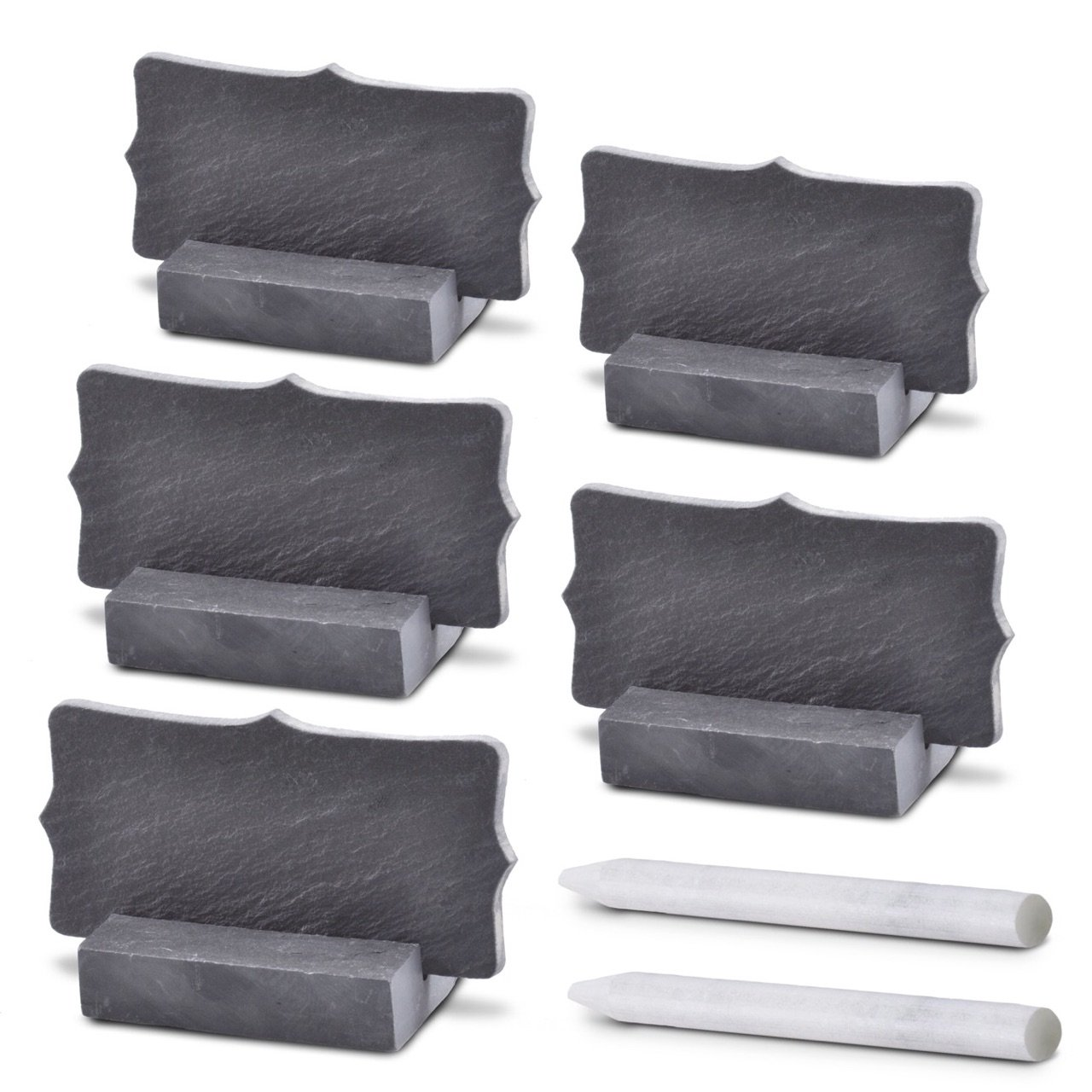 """Mini Chalkboard Stand 5-Pack – Erase Chalkboard Markers! - Reusable & Windproof Slate Blackboard Signs - 3.5"""" x 1.75"""" with Lace Edges (with 2 Pieces Chalk)"""