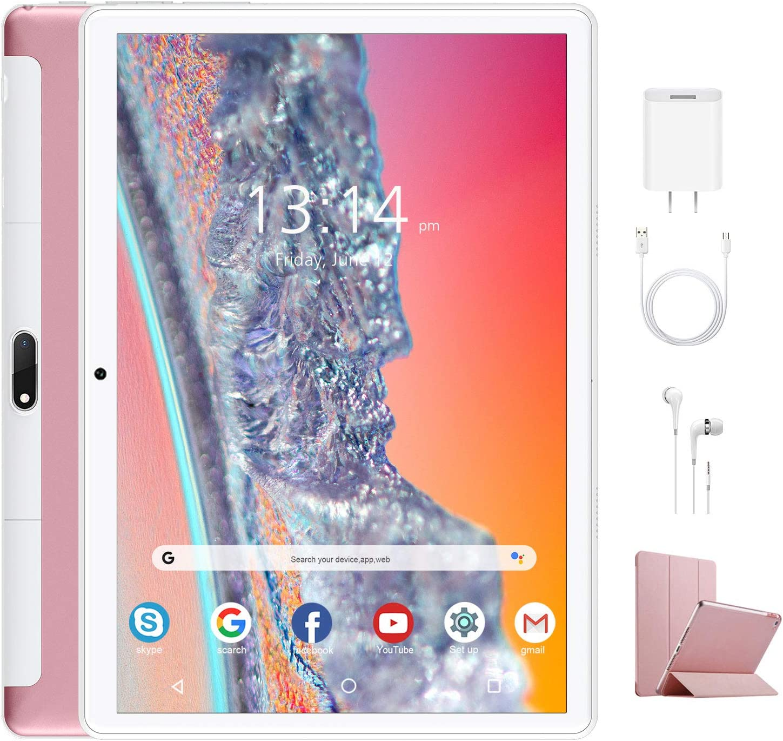 Tablet 10.1 Pulgadas 4G Android 9.0 Quad Core Google GMS DUODUOGO P6 Tablet Baratas 4GB RAM 64GB ROM/128GB Escalables 8000mAh Doble SIM Doble Cámara Tablet PC Netfilx WiFi GPS OTG (Estándar, Rosado)