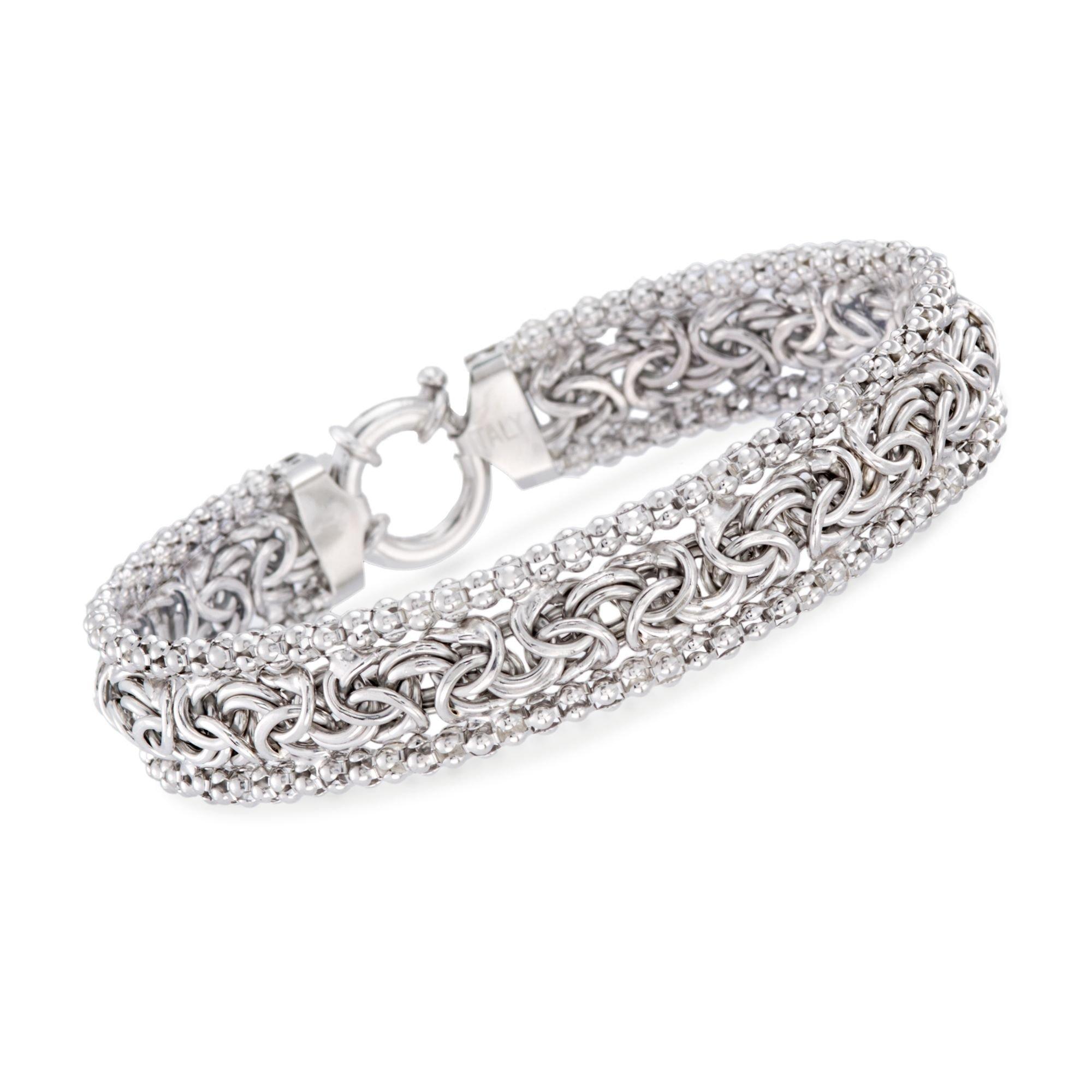 Ross-Simons Sterling Silver Beaded Byzantine Bracelet, Includes Presentation Box