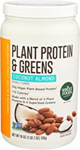 Whole Foods Market, Protein Powder And Greens Coconut Almond, 18 Ounce