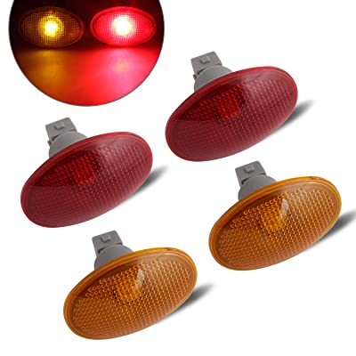RUXIFEY LED Dually Bed Fender Side Marker Lights Amber Red Sidemarker Lamps Replacement Compatible with 1999 to 2010 Ford F350 F450 F550 Dually - Pack of 4: Automotive [5Bkhe0911068]