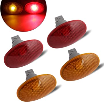 4 Amber Red for Ford F350 F-Series LED Fender Bed Side Marker Lights Smoked Lens
