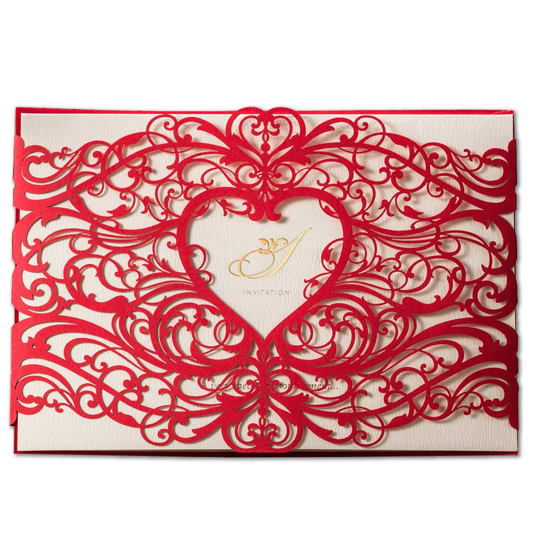 50X WISHMADE Laser Cut Wedding Invitations Cards Kits with Red ...