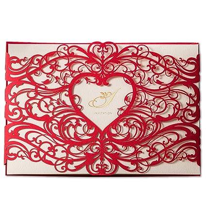 50X WISHMADE láser de corte de invitaciones de boda tarjetas de kits con corazón hueco rojo