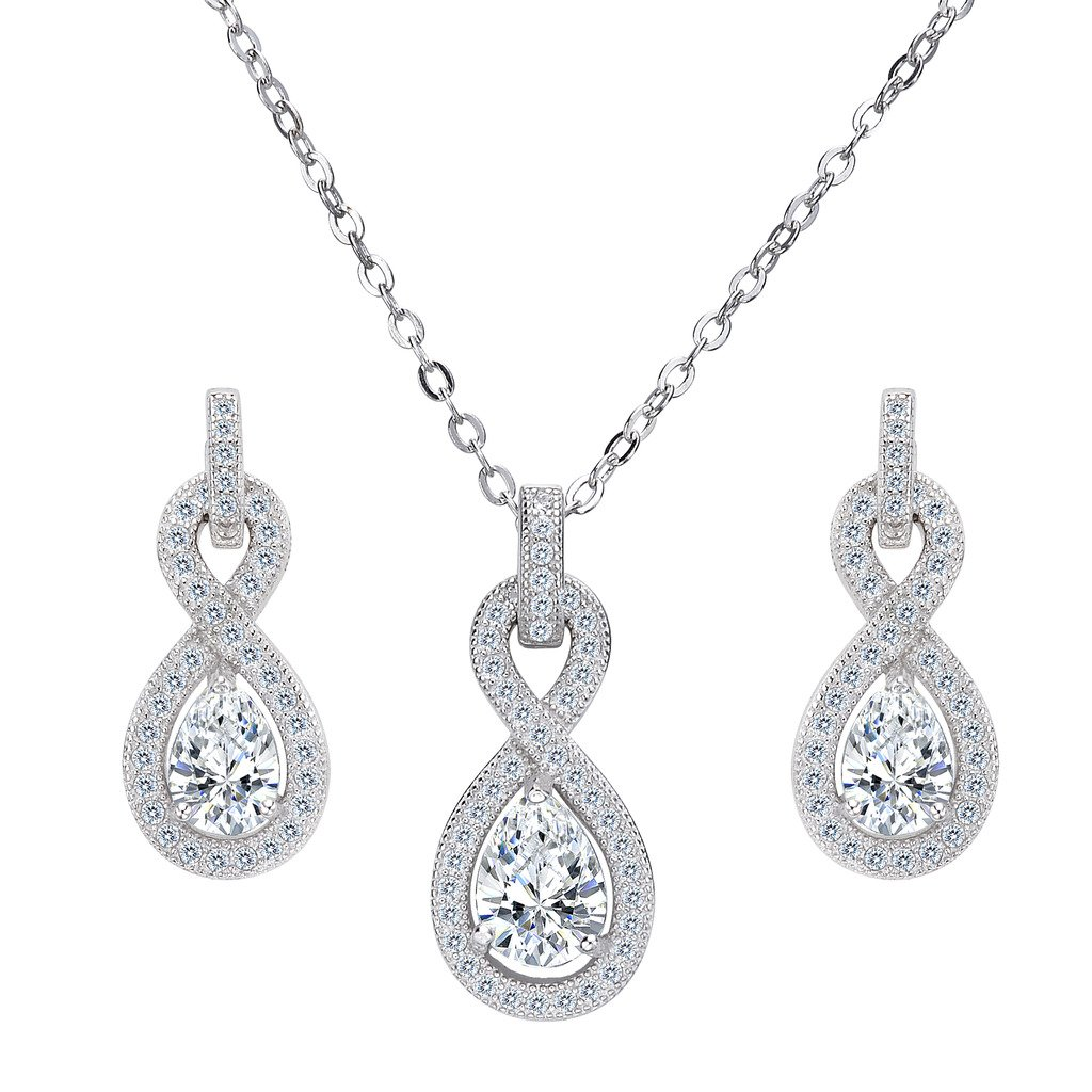 7e4419293 EleQueen 925 Sterling Silver Cubic Zirconia Infinity Figure 8 Teardrop  Bridal Pendant Necklace Dangle Earrings Set Clear: Amazon.ca: Jewelry