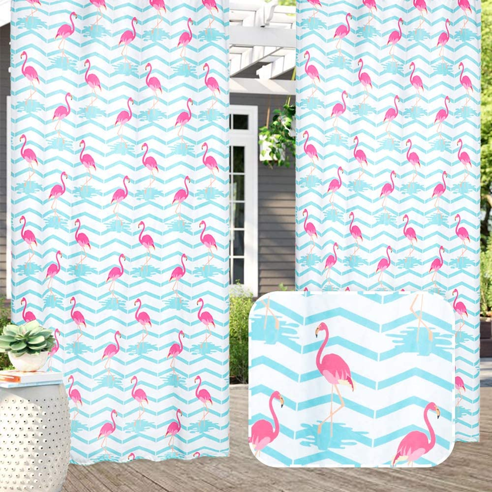 Amazon Com Pro Space Outdoor Printed Curtains Waterproof Uv Protection Privacy Window Drapes Thermal Insulated Grommet For Patio Porch Cabana 54 X 84 1 Panel Flamingo D Kitchen Dining