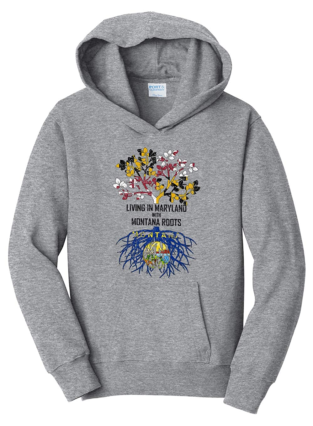 Tenacitee Girls Living in Maryland with Montana Roots Hooded Sweatshirt