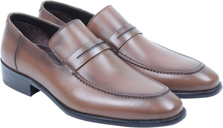 Callizio Mens Genuine Leather Slip On Penny Loafers in Black Or Brown UK 6 UK 10