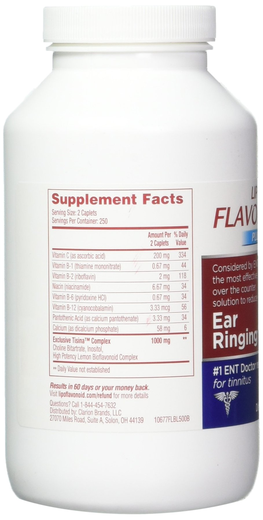 Lipo-Flavonoid Plus Ear Health Supplement | Most Effective Over the Counter Solution to Reduce Ear Ringing| #1 ENT Doctor Recommended for Tinnitus | 500 Caplets by Lipo-Flavonoid (Image #5)