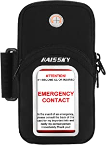 HAISSKY Sports Phone Holder Cell Phone Sleeve Gym Arm Bag Elastic Running Phone Armband for Exercise Workout Fits iPhone 12/12 Pro Max/11 Pro Max/Xr/Xs Max/X/8/ Airpods, Galaxy S20/S10/S9/S8 Plus