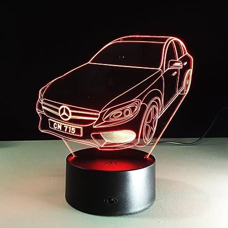 Circle Circle Car Shape 3d Optical Illusion Visual Led Table Lamp 7