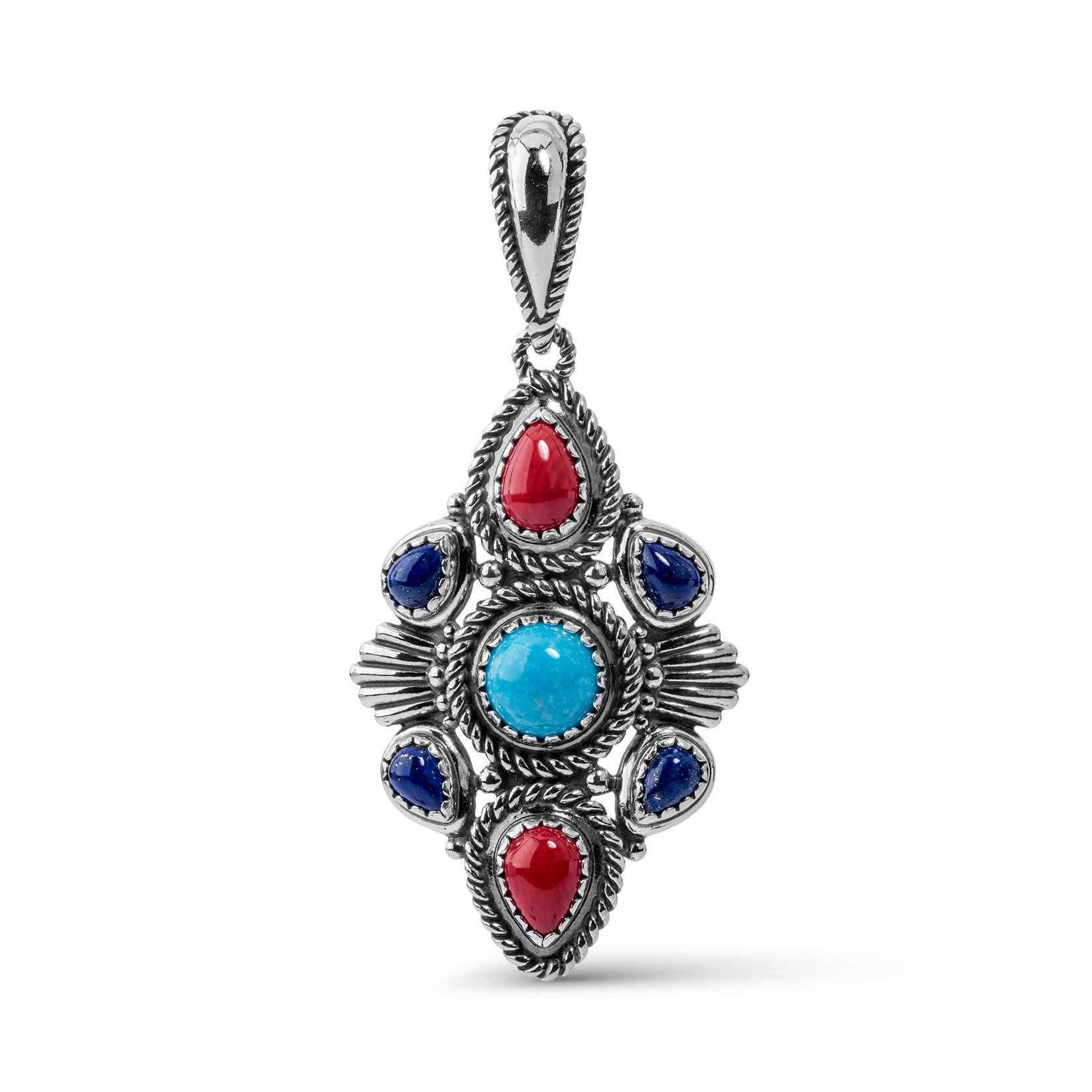 American West Genuine .925 Sterling Silver Turquoise Lapis Red Coral Pendant Enhancer by American West