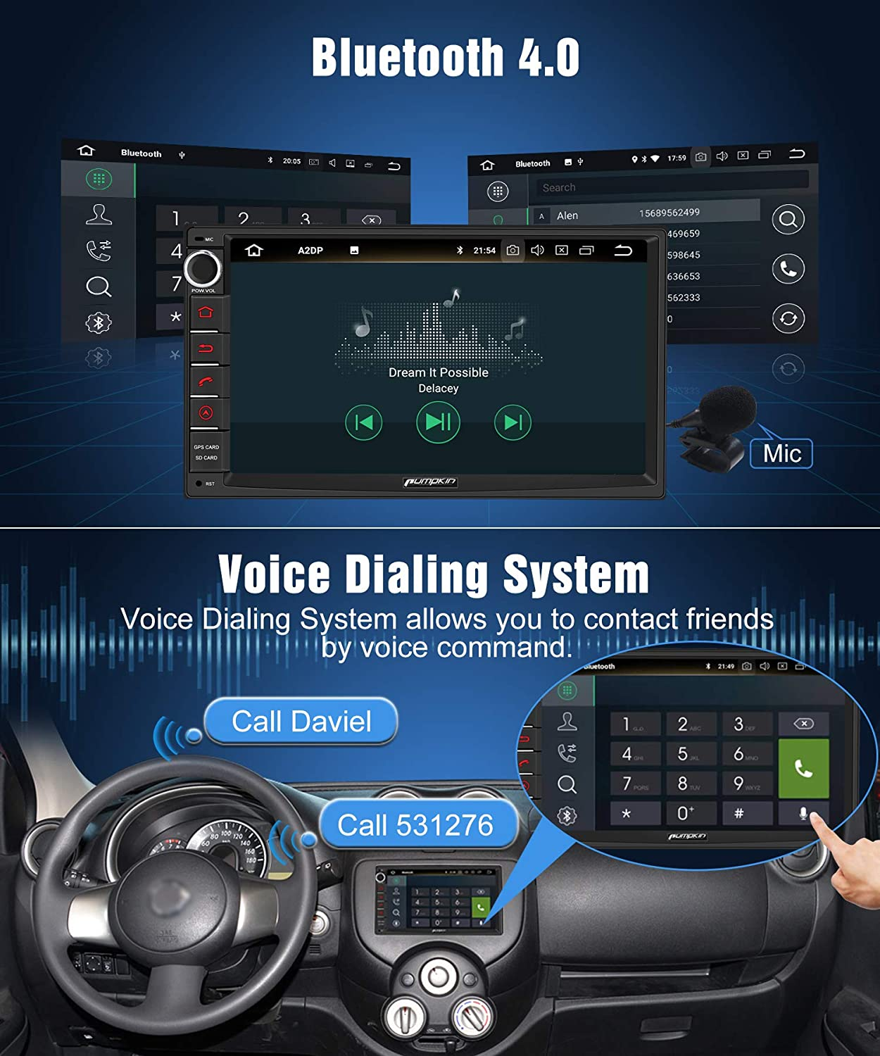 WiFi 4G USB//SD Voice Dialing 7 Touch Screen 18 Month Warranty PUPMKIN Android 9.0 Double Din Car Stereo with Sat Nav Bluetooth Support Android Auto DAB