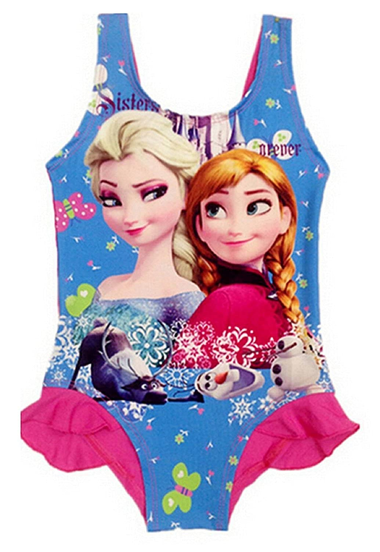 Taglia XL - 5-6 anni - Costume da bagno - Elsa & Anna - Adatto a Bambina - Colore Fuxia - Intero con Volant 793596021350