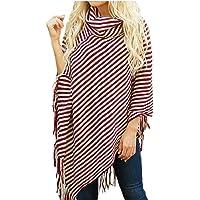 omniscient Women Long Sleeves Loose Tassel Knit Cape Sweaters Pullover Top