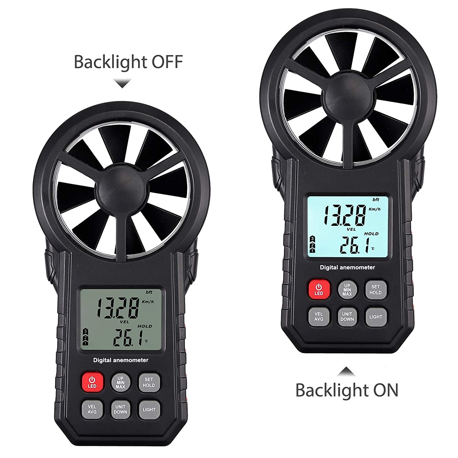 Proster Digital Anemometer Wind Speed Meter Air Volume Wind Gauge with for Windsurfing Kite Flying Sailing Surfing Fishing