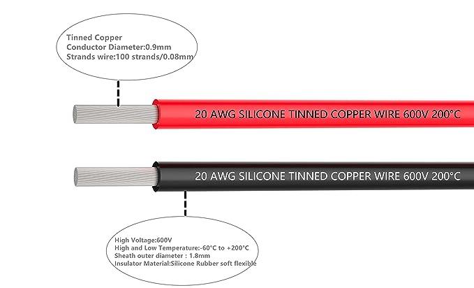 Elektrischer Draht 20 AWG 20 Gauge Silikon Drahthaken Kabel 6 m [3 m ...